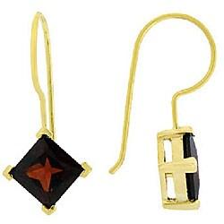 Glitzy Rocks 18k Gold over Sterling Silver Garnet Drop Earrings