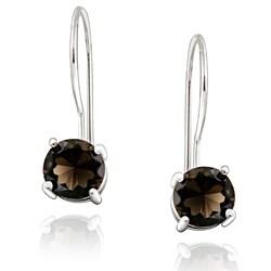 Glitzy Rocks Sterling Silver Smokey Quartz Drop Earrings