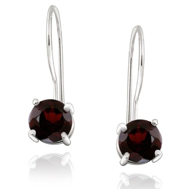 Glitzy Rocks Sterling Silver Euro Wire Garnet Earrings