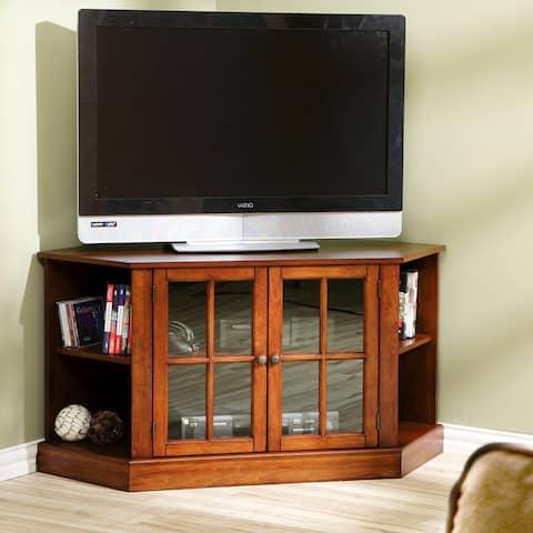 Crescent Walnut Corner TV Stand