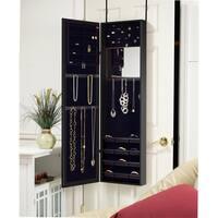 Black Over-the-Door Mirrored Jewelry Armoire