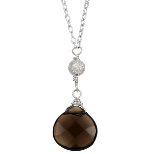 Charming Life Sterling Silver Smokey Quartz Briolette Necklace