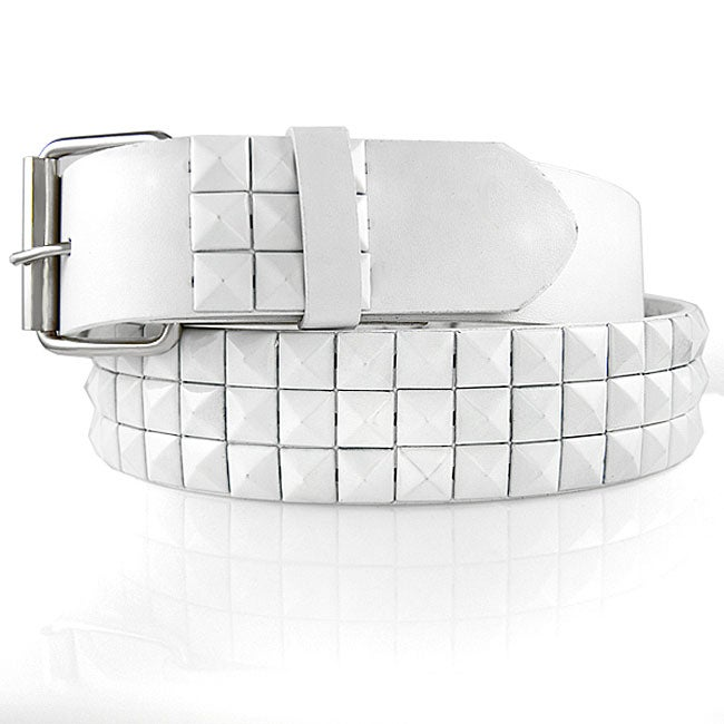 JK Belts Unisex Imitation Leather 3-Row White Metal Studded Belt - Thumbnail 0
