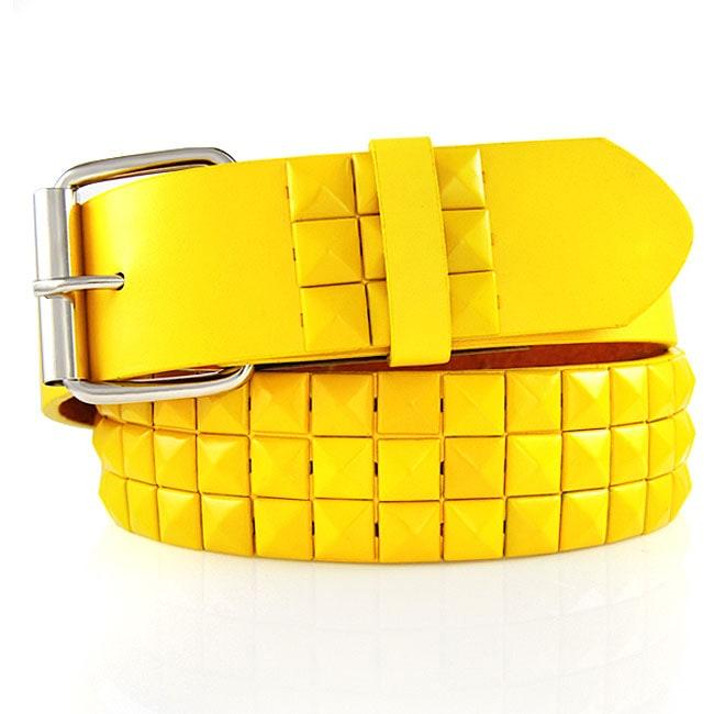 JK Belts Unisex 3-row Yellow Studded Yellow Belt