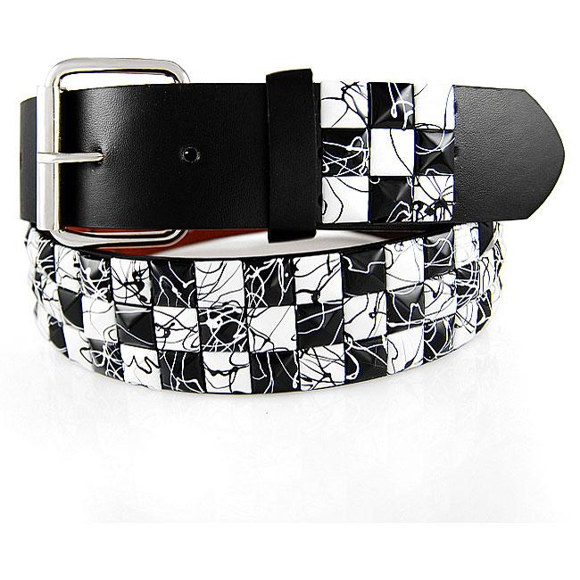 JK Belts Unisex 3-row White/ Black Checkered Studded Belt