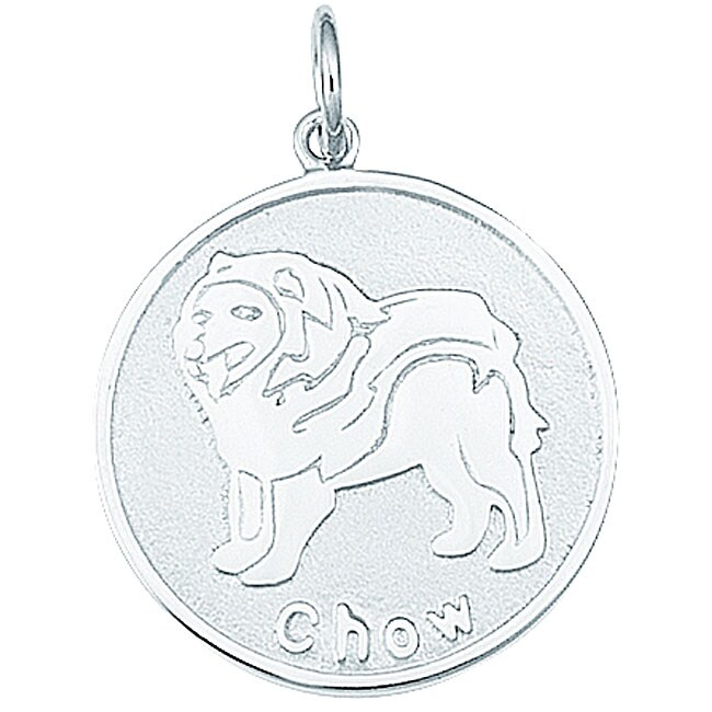 Sterling Silver Chow Dog Round Disc Charm (Sterling Silve...