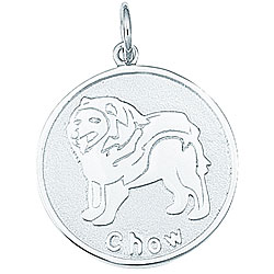 Sterling Silver Chow Dog Round Disc Charm