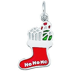 Sterling Silver Enamel 'Ho Ho Ho' Christmas Stocking Charm