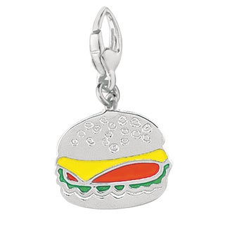 Sterling Silver Enamel Fast Food Hamburger Charm