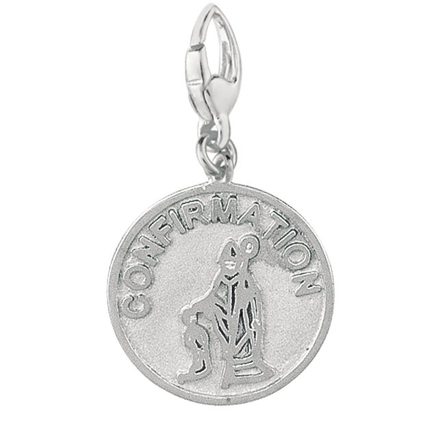 Sterling Silver Confirmation Boy and Bishop Disc Charm (S...