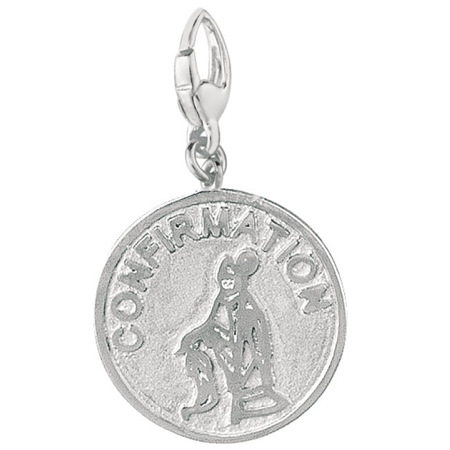 Sterling Silver Confirmation Girl and Bishop Disc Charm (...