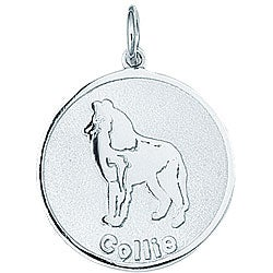 Sterling Silver 'Collie' Round Disc Charm