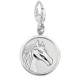 Sterling Silver 'Horse Head' Round Disc Charm - Thumbnail 0