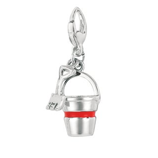 Sterling Silver Red Enamel Pail with Shovel Charm