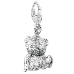 Sterling Silver 3D Teddy Bear Charm