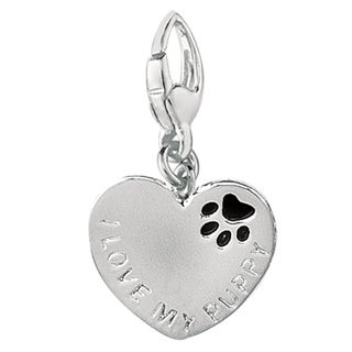 Sterling Silver 'I Love My Puppy' Charm
