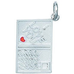 Sterling Silver Enamel I Love You Postcard Charm
