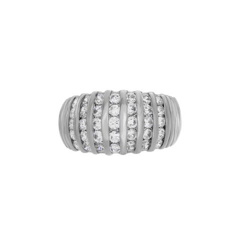 Sterling Silver Channel-set CZ Dome Ring ( Sizes 6-9 )