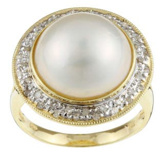 Kabella 14k Gold Mabe Pearl and 1/5ct TDW Diamond Ring (14 mm) (I-J, I2-I3)|https://ak1.ostkcdn.com/images/products/3540513/P11603676.jpg?impolicy=medium
