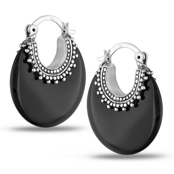 overstock earrings miadora sterling silver black onyx earrings free 6553
