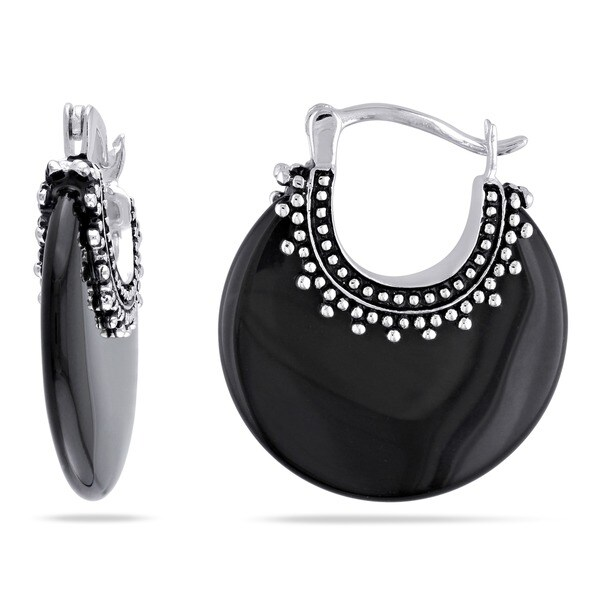 Miadora Sterling Silver Black Onyx Earrings