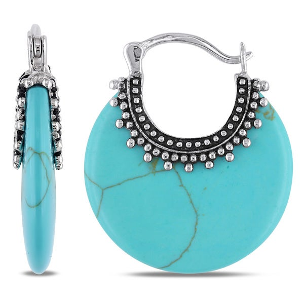 Sterling Silver Turquoise Clip-In Hoop Earrings by Miadora