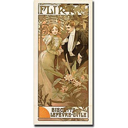 Alphone Mucha 'Flirt' Framed Canvas Art