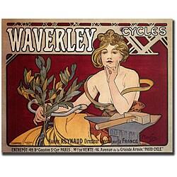 Alphonse Mucha 'Waverly Cycles' Framed Canvas Art