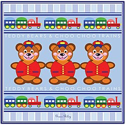 Grace Riley 'Teddy Bears and Choo Choo Trains' Framed Canvas Art