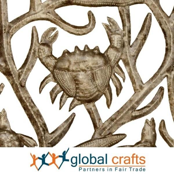 Metal 'Sea Life' Oil Drum Art, Handmade in Haiti
