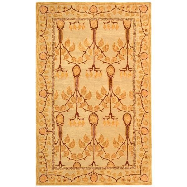 Safavieh Handmade Anatolia Oriental Ivory/ Gold Hand-spun Wool Rug - 5' x 8'