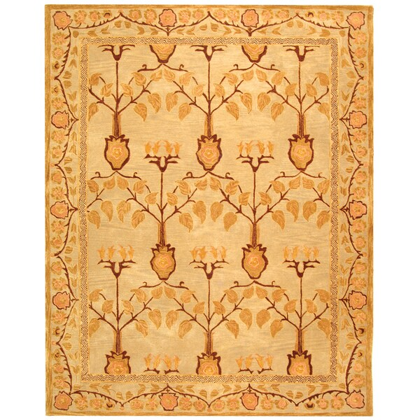 Safavieh Handmade Ancestral Tree Ivory/ Gold Wool Rug (6' x 9')