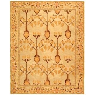 Safavieh Handmade Anatolia Elisabeth Traditional Oriental Wool Rug (96 x 136 - Ivory/Gold)