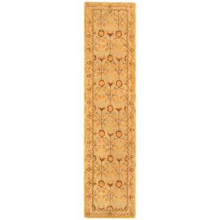 Safavieh Handmade Anatolia Oriental Traditional Ivory/ Gold Hand-spun Wool Runner (2'3 x 10')