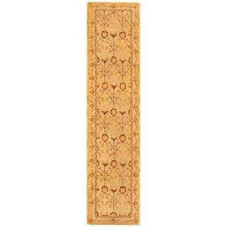 Safavieh Handmade Anatolia Oriental Traditional Ivory/ Gold Hand-spun Wool Runner (2' 3 x 12')