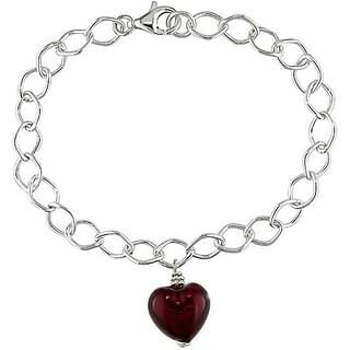 Miadora Silver Murano Glass Red Heart Charm Bracelet