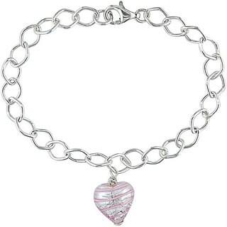 Miadora Silver Murano Glass Pink Heart Charm Bracelet