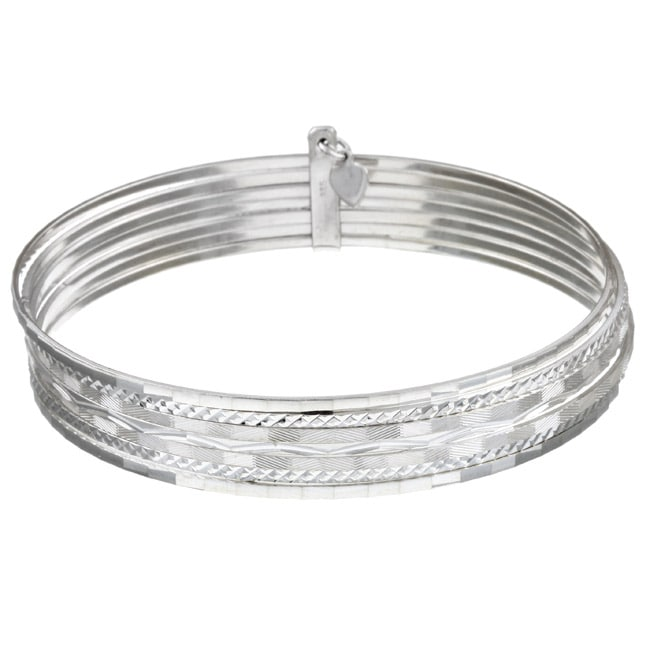 Sterling Essentials Sterling Silver 7-inch Diamond-Cut Bangle Bracelet (set of 7)