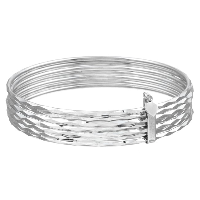 Sterling Essentials Sterling Silver 7-inch Semanario Bangle Bracelet (set of 7) - Thumbnail 0