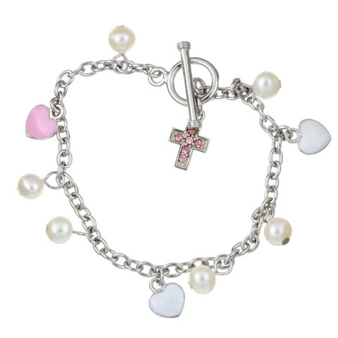 Sterling Silver 6-inch CZ Cross with Freshwater Pearl Child's Bracelet (5-5.5 mm
