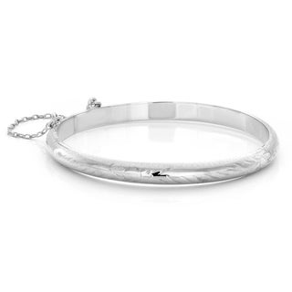 Sterling Silver 5.5-inch Floral Engraved Baby's Bangle