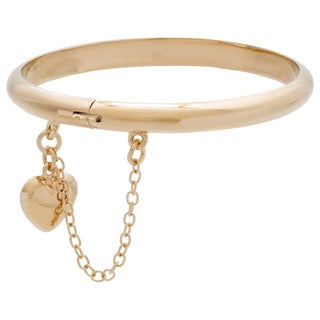 14k Yellow Gold over Sterling Silver Polished Child's Heart Charm Bangle