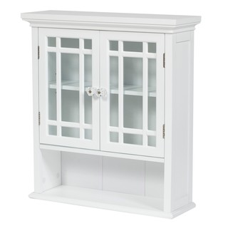 Essential Home Furnishings White Wood Stripe Wall Cabinet
