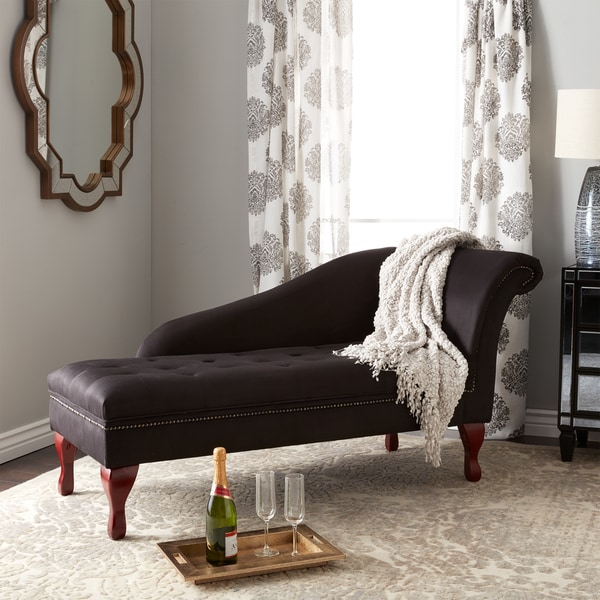 Simple Living Black Storage Chaise Lounge   N/A