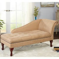 Simple Living Tan Chaise Lounge with Storage - N/A