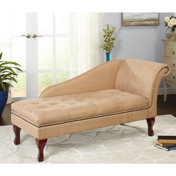 Nice Simple Living Tan Chaise Lounge With Storage