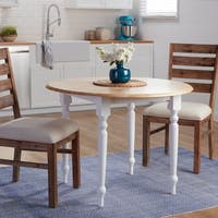 Two-tone 40-inch Rubberwood Round Drop-leaf Table - N/A