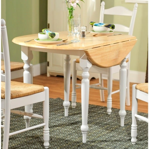 simple living rubberwood  inch diameter round drop leaf table: 40 inch round pedestal dining table