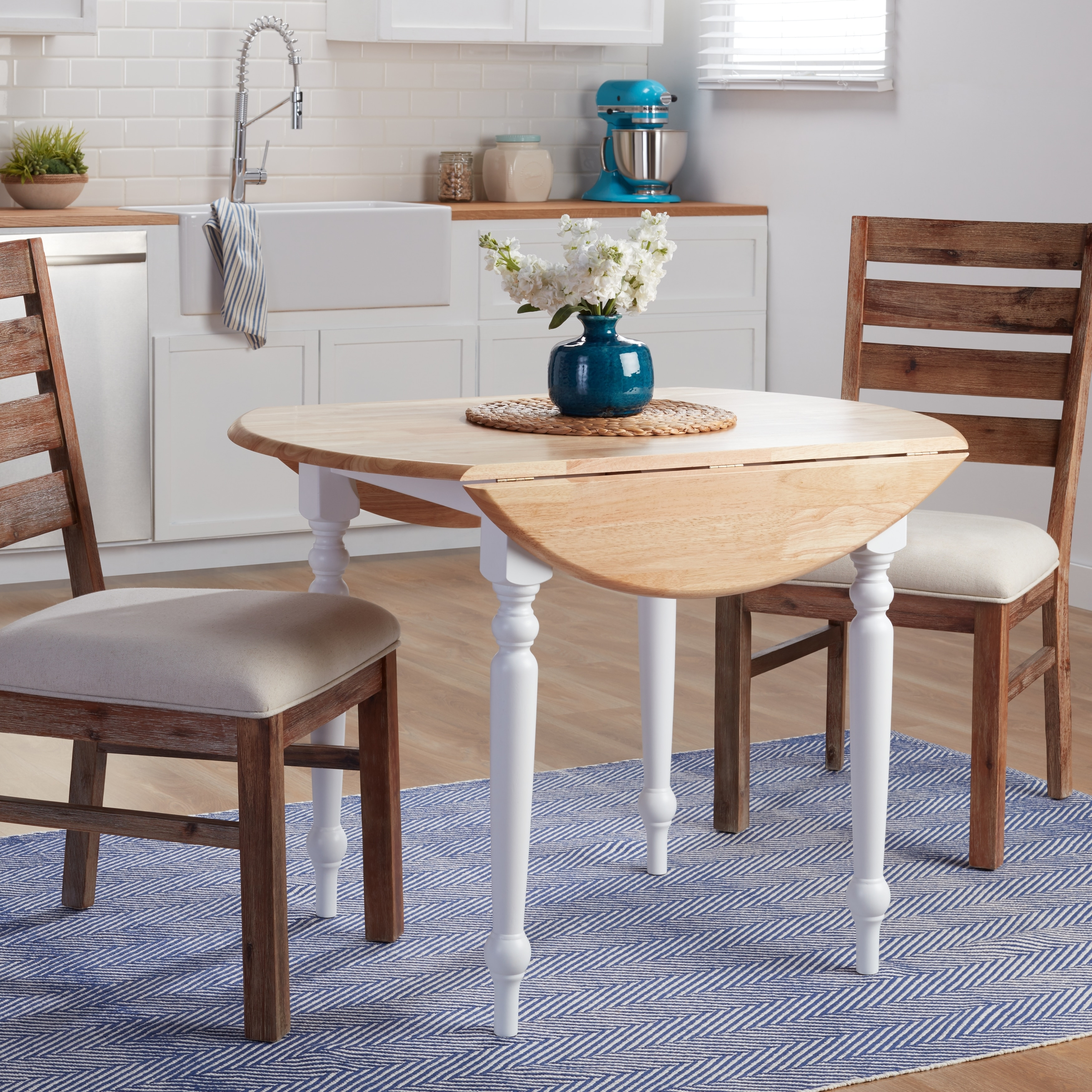 Simple Living Two-tone 40-inch Rubberwood Round Drop-leaf Table - White