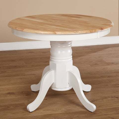 Simple Living Rubberwood Farmhouse Table - White/Natural